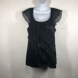 White House Black Market silk black blouse size 10